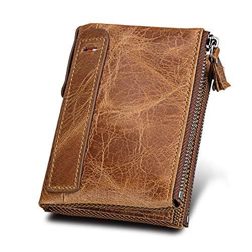 Billetera De Cuero De Los Hombres, Bloqueando Carteras De Hombres De Tecnología RFID, Titular De La Tarjeta De Crédito/Moneda/Billetera Bolsillo, Una Talla