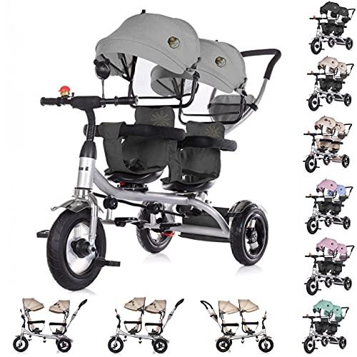 Chipolino Tricycle Dreirad 2Play Zwei Kinder bis 50 kg Luftreifen Lenkstange , Farbe:dunkelgrau