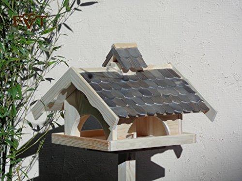 Vogelhaus,groß,mit Nistkasten,BEL-X-VONI5-at002 Großes wetterfestes PREMIUM Vogelhaus VOGELFUTTERHAUS + Nistkasten 100% KOMBI MIT NISTHILFE für Vögel WETTERFEST, QUALITÄTS-SCHREINERARBEIT-aus 100% Vollholz, Holz Futterhaus für Vögel, MIT FUTTERSCHACHT Futtervorrat, Vogelfutter-Station Farbe schwarz lasiert, anthrazit Schwarzlasur / Holz natur, MIT TIEFEM WETTERSCHUTZ-DACH für trockenes Futter