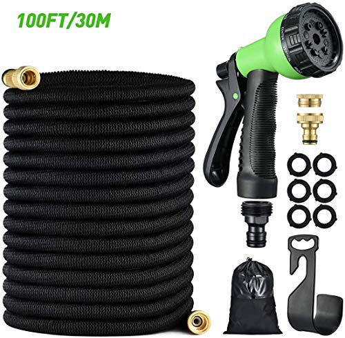 Alittle 100FT Expandable Garden Hose Pipe, Leak-Free Lightweight Flexible Water Hose with Brass Fittings, 10 Functions Spray Nozzle, Kink-Free Hose Pipe for Gardening, Car Wash, Pet Shower