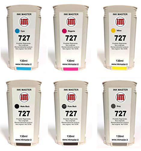 Ink Master - SET 6 Cartuccia rigenerata HP 727 HP727 B3P19A-24A CMYMkPkGy per HP T1500 T1530 T2500 T2530 T920 T930