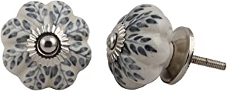 Set of 12 Pieces Leaf Floral Ceramic White Cabinet Knobs Furniture Handle Drawer Pull Vintage Designer (GREY)