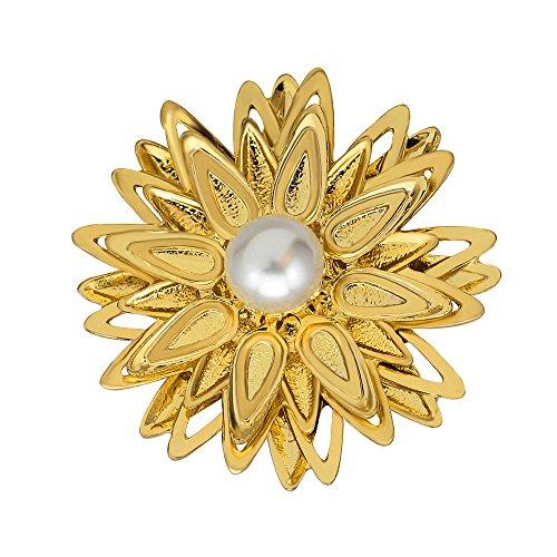 Lily Jewelry–Orecchini luminosi eleganti a forma di fiore di cristallo spilla per donne, oro rosa, colore: Gold-4, cod. lily-160
