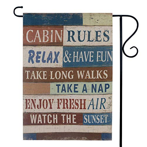 LINKWELL Antique Cabin Rules Garden Flag for Outside Double Sided 12.5 x 18 Inch Lodge Small Lawn Flag Yard Decor Outdoor Home Decorations GF27