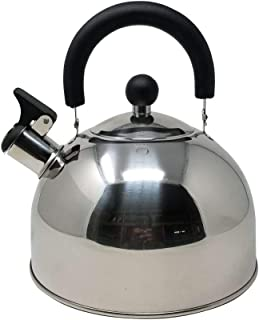 American Dream Tea Kettle 10 Cup 2.6 Qt. Loud Whistle Stainless Steel Culinary Food Grade Tea Kettle with Soft Grip Cool Touch Foldable Handle Anti-Rust Stove Top Capsuled Bottom Teapot