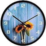 VIKMARI Orologio da Parete Silenzioso Non ticchettio Retro Numeri Arabi Rotonda Orologi da Parete Decorativo di Vetro Modello di Girasole 12 inch