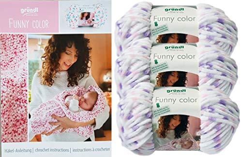 Gründl Funny Color 3x100 Gramm Softgarn kuschelliges Garn aus 100% Polyester (3er Set 01 Weiss Rosa Flieder) + Häkelanleitung für eine Kuscheldecke