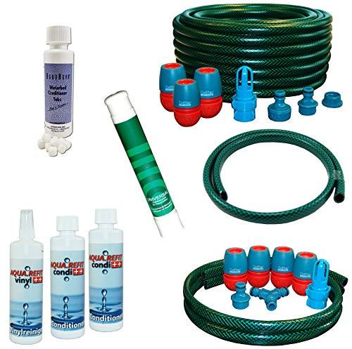 Blue Magic Wasserbetten Befüllschlauch Entleerschlauch für DUAL Wasserbett + 2X Conditioner + Vinylreiniger + Entlüfter