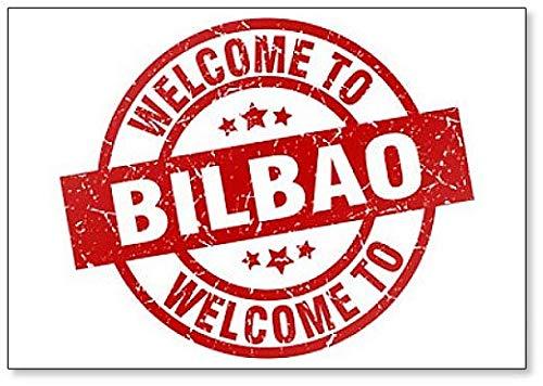 Imán para nevera con ilustración de sello rojo de bienvenida a Bilbao