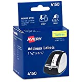 AVERY Multi-Purpose Labels for Label Printers, 1.125 x 3.5 Inches, White, Two Rolls of 130 (04150), 1 1/8' x 3 1/2'