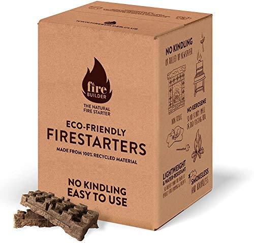 FireBuilder - Pastillas de Encendido para Chimenea y Barbacoa. Muy fácil de Usar sin necesitar Otro Producto. Sin químicos. No Produce Malos olores ni Humo. Encendedor Natural y ecológico.
