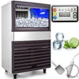 VEVOR 110V Commercial Ice Maker 155LBS/24H with 44lbs Storage Capacity Stainless Steel Commercial...