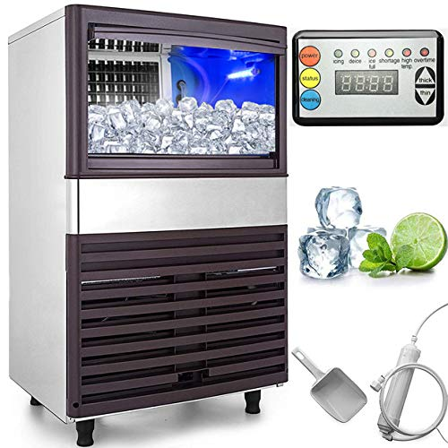 VEVOR 110V Commercial Ice Maker 155LBS/24H with 44lbs Storage Capacity Stainless Steel Commercial Ice Machine W/Scoop 55 Ice Cubes Per Plate Industrial Ice Machine Auto Clean for Bar Home Restaurant