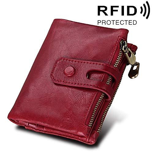 Portemonnee Echte rundleer Crazy Horse Texture Rits 3-voudige kaarthouder portemonnee RFID-blokkerende munttas beschermhoesje voor mannen, Afmetingen: 12 * 9,5 * 3,5 cm (kleur: rood)