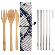 Bamboo Travel Utensils and Reusable Straws - Set with Carrying Case Holder by Little Footprint (Blue)