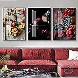 TEDDRA Lienzo Mural Arte Impresión Fruta Postre Imagen Comida Moderna Cocina Póster Pared Fresa Azul Ciruela Arándano Pintura Decoración para el hogar-50X60cm Sin Marco