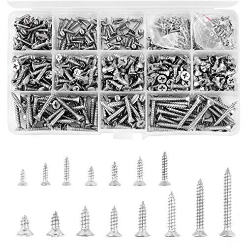 620 tornillos roscados M2 M3 M4 de cabeza cruzada, 15 especificaciones de acero inoxidable 304 para madera, muebles, electrodomésticos o decoración