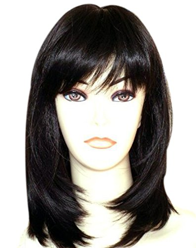 Kalyss Black Wigs with Hair Bangs Medium Long Straight Layered Synthetic Hair Wigs for Women