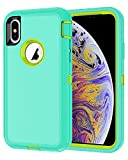 I-HONVA for iPhone Xs Max Case Shockproof Dust/Drop Proof 3-Layer Full Body Protection [Without Screen Protector] Rugged Heavy Duty Durable Cover Case for Apple iPhone Xs Max 6.5-inch, Teal/Green
