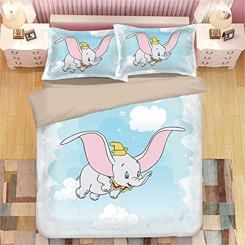 Zxyzhk 3 Pieces Duvet Cover Set Double 3D Cartoon Animal Elephant 230*220Cm Printed Bedding Quilt Duvet Cover With Zipper Closure For Girls, Ultra Soft Microfiber Bedding Bedding Set with Zipper Clos