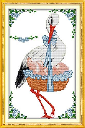 PJX Kit de punto de cruz con diseño de grullas de corona roja con el bebé azul 11CT impreso DIY bordado hecho a mano costura decoración del hogar set de arte - 11CT imagen impresa