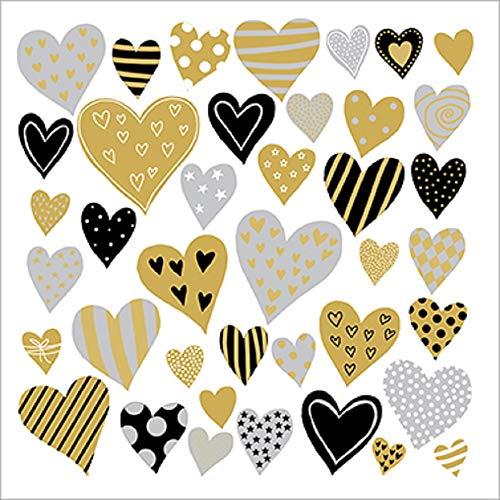 CasaJame Set di 40 (2 Confezioni da 20 Pezzi cad) Tovaglioli in Carta Monouso 3 Strati Veli 33x33cm Multicolore Motivo Cuori Oro Nero Grigio