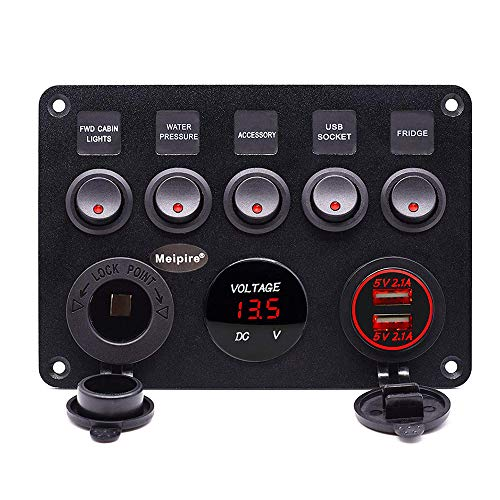 Meipire 5 Gang Schalter Panel ON-OFF Kippschalter Panel Dual USB Ladegerät LED Voltmeter 12 V Steckdose für 12 V ~ 24 V Fahrzeuge Auto Boot SUV Lkw Yacht RV Camper Baufahrzeug (Rot)