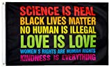 XIFAN Premium 150D Much Thicker Black Lives Matter Science Is Real BLM Flag, Heavy Duty Equality Pride Rainbow Banner, Vibrant Print Double Stitched, 3x5 FT Indoor Outdoor Decoration