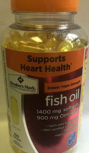 Member's Mark Enteric Triple Strength Fish Oil 1400mg Softgels 900mg Omega-3 DHA EPA (2 Bottles (300 softgels))