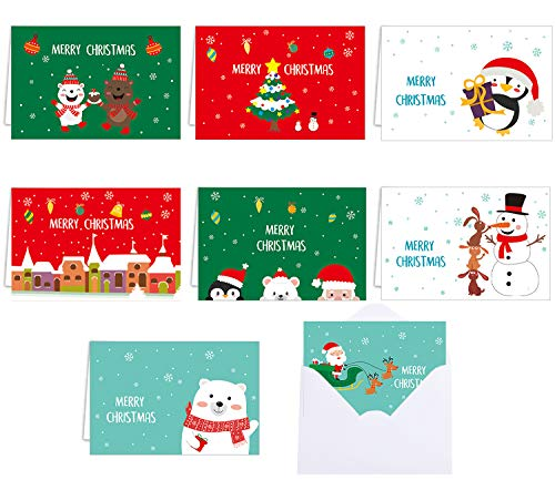 STEFORD 48PCS Christmas Greeting Cards with Envelopes,Merry Christmas Holiday Greeting Cards Bulk in 8 Christmas Elements Design,4 x 6 Inches