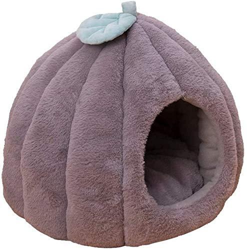 Abcoll Winter Warmes Katzenhöhle for Indoor Small Medium Hunde Katzen, Gemütlich Igloo Flauschig Katzenbett Mit Abnehmbaren Waschbare Katzenkissen (Farbe : Gray, Größe : L(50x50cm))