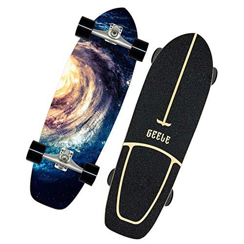 VOMI Skateboard Retro Cruiser 31 Zoll Board Ahornholz Pennyboard Langstrecken Skate, Vintage Geschenk für Erwachsene Anfänger Professionel Kinder Jungen Mädchen,Blau