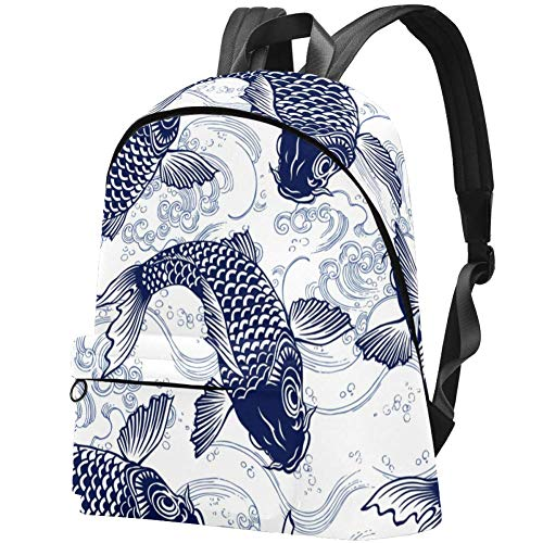Blue Fish Carp Koi Wave Pattern College School Backpack Casual Daypack Laptop Backpack for Adults and Kids