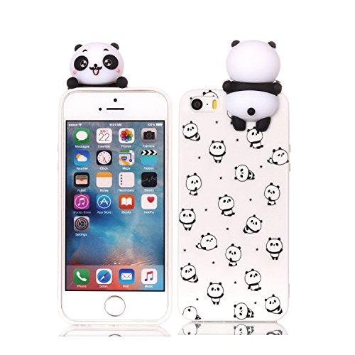 HopMore Funda iPhone 5S / SE / 5 Silicona Motivo 3D Divertidas (Panda Unicornio) TPU Gel Kawaii Ultrafina Slim Case Antigolpes Caso Protección Flexible Cover Design Gracioso - Pequeño Panda