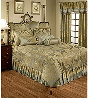 3 Piece Duchess Luxury Blue Gold Silver King Comforter Set, Royal Luxury Modern Master Bedroom Gorgeous Glamorous Pretty Beautiful Elegant Rich Stylish Damask Floral All Over Printed