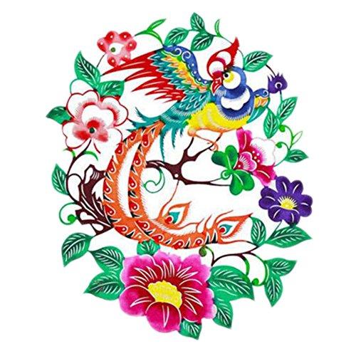 Black Temptation 4PCS Chinese Traditional Art Paper Cut Décor Collection colorée Souvenir-A22