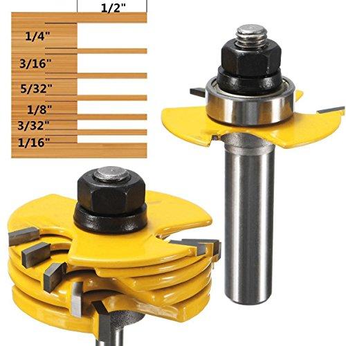 cherrypop 2 unids ranura cortador 3 alas router bit 1/2 y 1/4 'vástago ajustable herramienta de carpintería