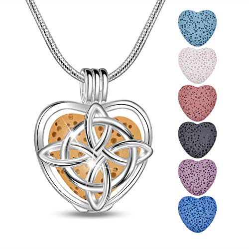 INFUSEU Heart Celtic Cross Infinity Knot Essential Oil Anxiety Necklace Lava Rock Stone Aromatherapy Diffuser Irish Jewelry for Women, 24in Snake Chain