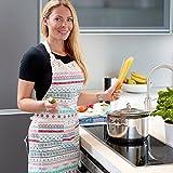 Pink Papaya Schürze, Kochschürze für Frauen und Männer aus 100% Baumwollleinen, Küchenschürze MIA, Farbe: weiß/bunt gestreift mit Spitzenapplikationen - 2