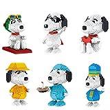 QSSQ Mini Dibujos Animados Snoopy Building Blocks Set - 6 Estilos De Modelos De Perros De Mascotas, Juguetes Creativos De Ladrillo De Construcción para Niños, Mejor Regalo