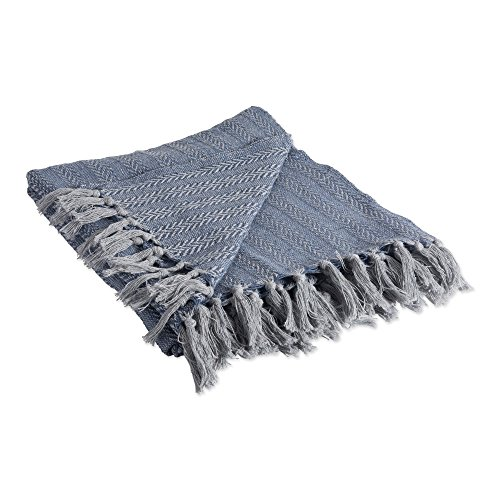 DII Industrial Tonal Textured Woven Throw, 50x60, French Blue