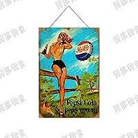 ペプシセクシービューティー11木製のリストプラーク木の看板ぶら下げ木製絵画パーソナライズされた広告ヴィンテージウォールサイン装飾ポスターアートサイン