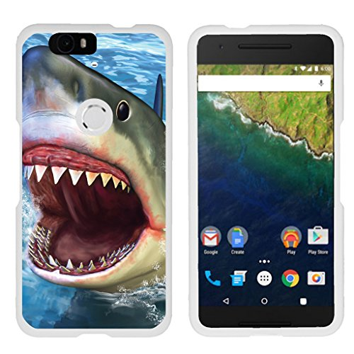 Compatible with Huawei Nexus 6P Case | Google Nexus 6P Case [Slim Duo] Hard Shell Snap On Case Compact Fitted Protector Matte Finish on White Sea Ocean by TurtleArmor - Shark Attack