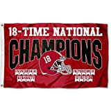 Alabama Crimson Tide 2020 18 Time College Football Champions Banner Flag