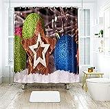 AJ WALLPAPER 022 - Cortina de ducha con cuentas azules en 3D, resistente al agua, fibra resistente al agua, para baño, ventanas, inodoro, tamaño personalizado (mensaje de ebay)