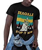 Seagulls Stop it Now Vintage T-Shirt Gift for Xmas Birthday Holiday Tee Black