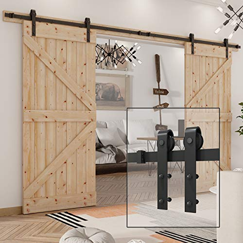WBHome SDH-0223-BK 13Ft Double Barn Hardware Kit Sliding Door Track Rail Steel, Black