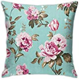 Throw Fundas para almohada\Pillow Covers ,Sofa Square Decorative Throw Funda de Cojin\Pillow Case Blue Botanical Shabby Chic Vintage Roses Tulips Forget Me Nots Classic Chintz Floral Raster Pink