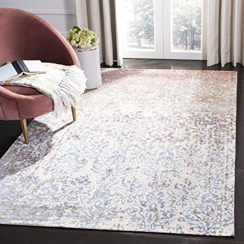 Safavieh Expression Collection EXP477M Handmade Viscose Area Rug, 6' x 9', Ivory / Blue
