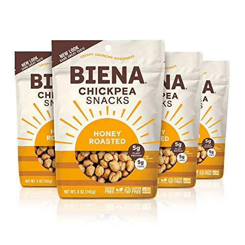 BIENA Chickpea Snacks, Honey Roasted | Gluten Free | Dairy Free | Vegetarian | Plant-Based Protein (4 Pack)